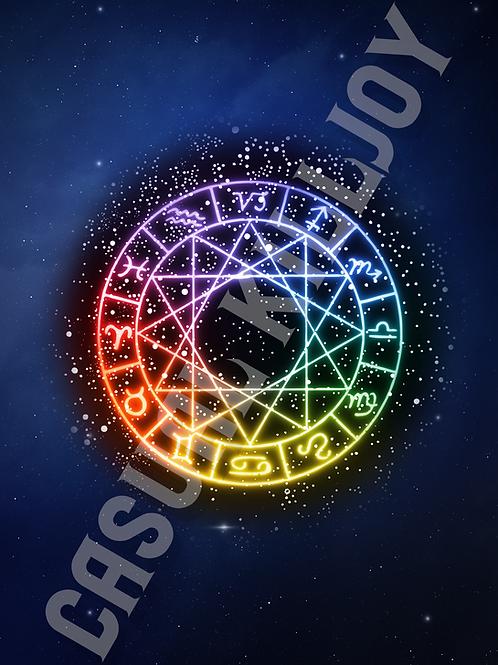 """Rainbow Zodiac Print 5""""x7"""""""