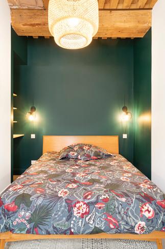 Chambre ambiance minimalite poudrée