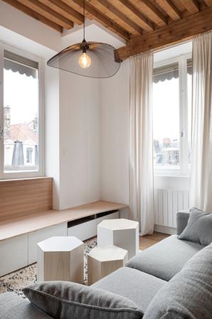 Salon et meuble sur mesure en Baubuche