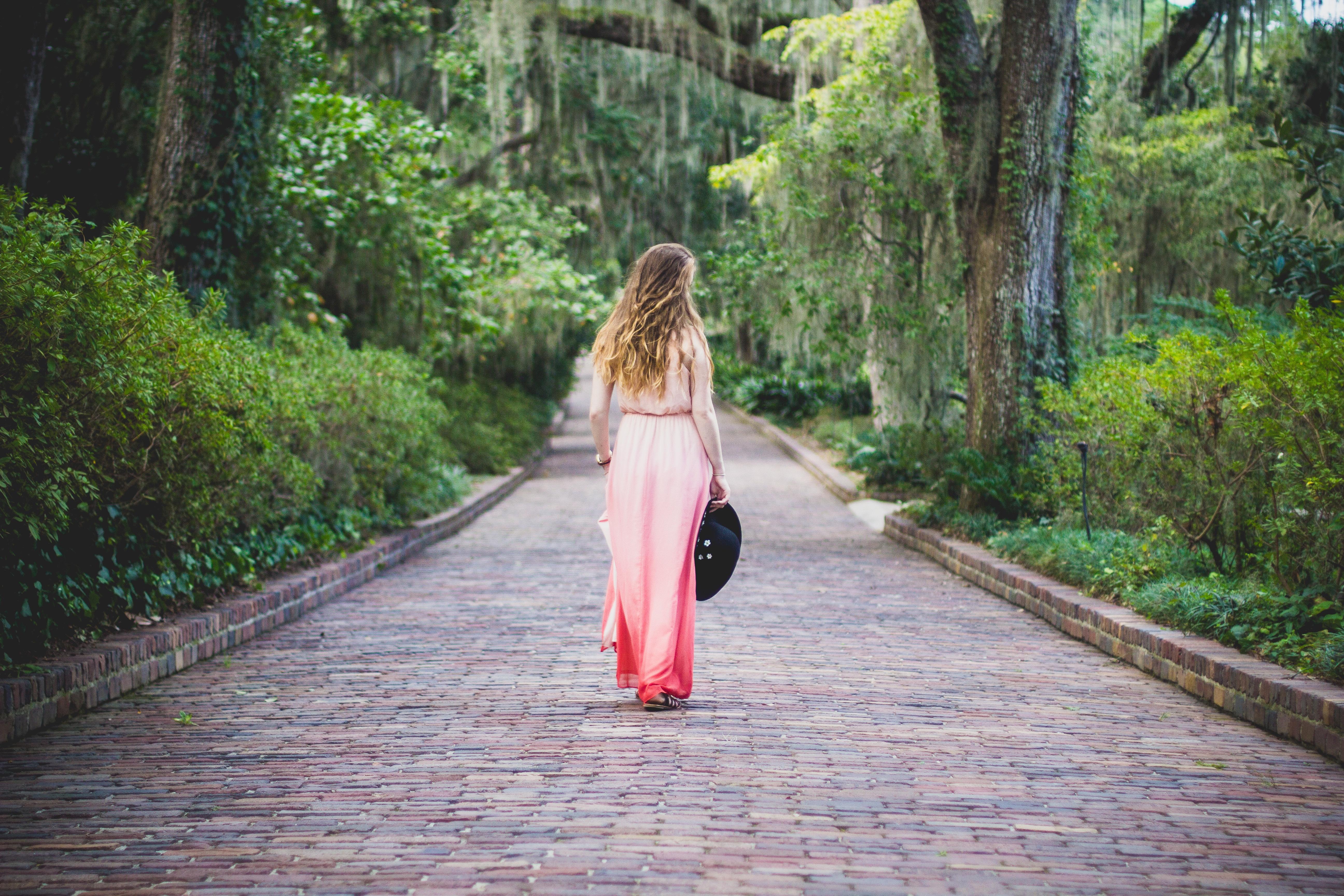 woman pink dress