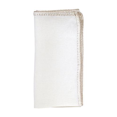 Crochet Edge Napkin White/Silver - Set of 4