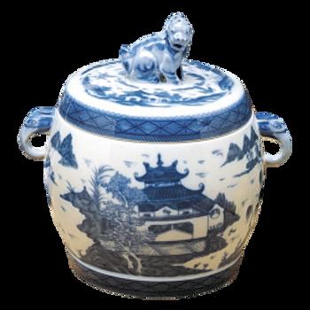 Blue Canton Fu Dog Jar, Small by Mottahedeh