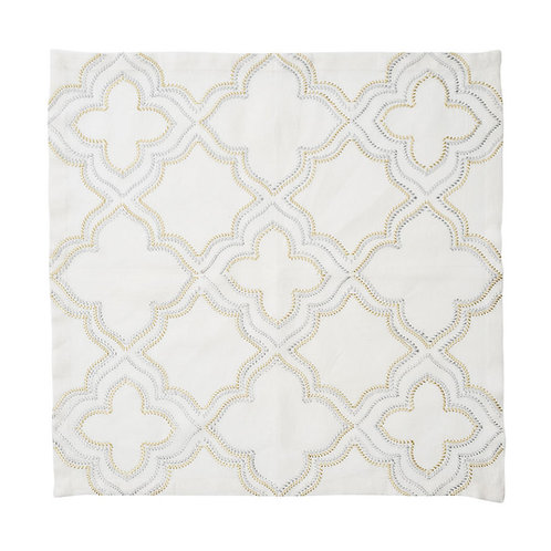 Tangier Napkin in White, Gold, and Silver