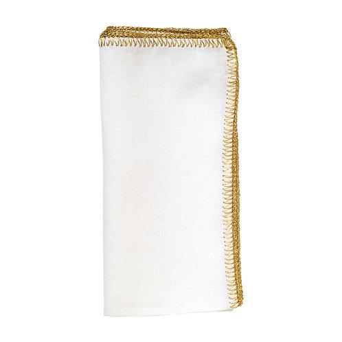 Crochet Edge Napkin White/Gold - Set of 4