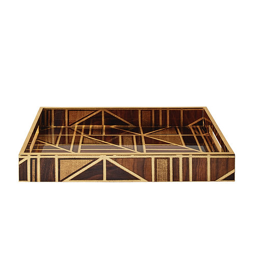 Parquet Brown and Gold Tray by Kim Seybert