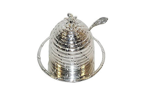 Silver-Plated Honey Pot w/ Cranberry Insert & Ladle