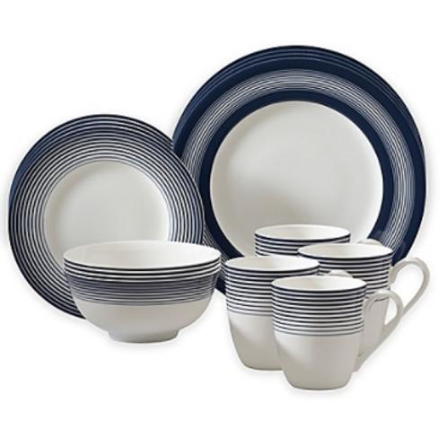 Auratic Licorice 16-Piece Dinnerware Set in White/Blue