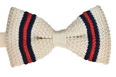 Knitted Bow Tie Ivory, Navy & Red
