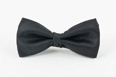 Small Stripe Bow Tie Black