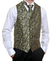 Black Gold Paisley Vest