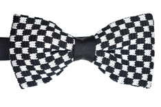 Knitted Bow Tie Black & White Check