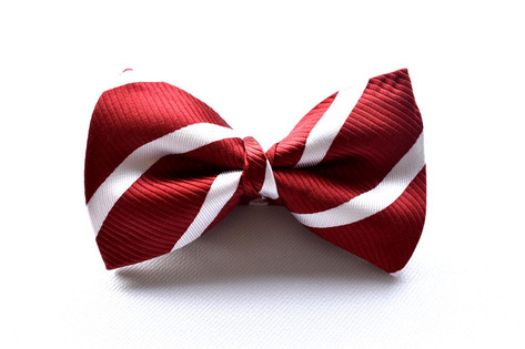 Stripe Bow Tie Red