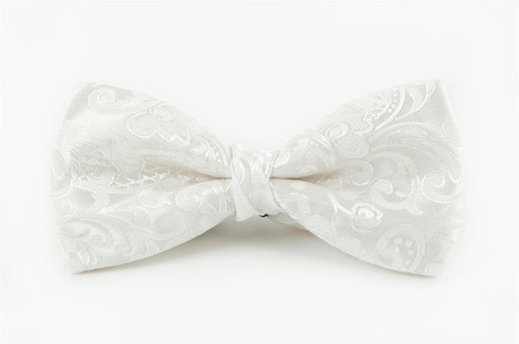 Ivory Floral Bow Tie