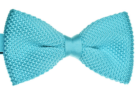 Knitted Bow Tie Aqua