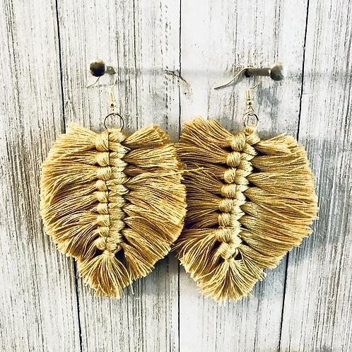 Boho Macrame earrings  (gold)