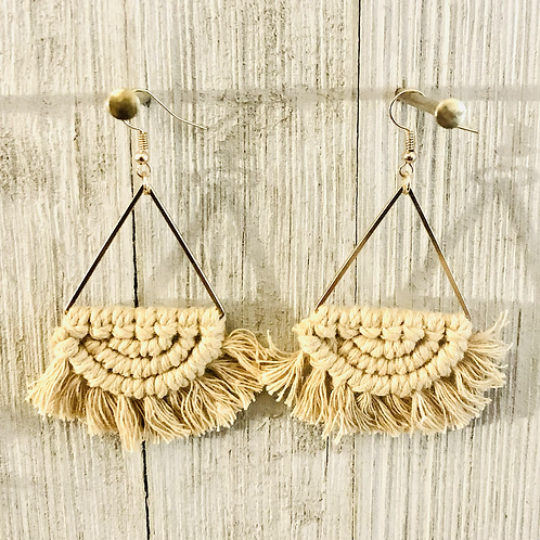 Boho Macrame Earrings  (nude colored with gold)