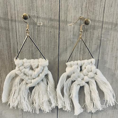 Boho Macrame Earrings  (white)