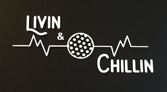 Livin and Chillin Golf Heartbeat Decal - White (small size)