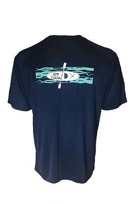 Kayak in Water Livin and Chillin Mens Moisture Wicking Shirt - Navy Blue