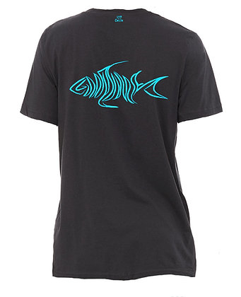 Livin and Chillin Fish Mens Eco Friendly Shirt - Charcoal Grey and Aqua Blue