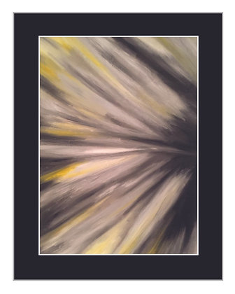 Abstract Floral Yellow and Greys Print
