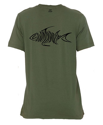 Livin and Chillin Fish Mens Eco Friendly Shirt -Landscape Green