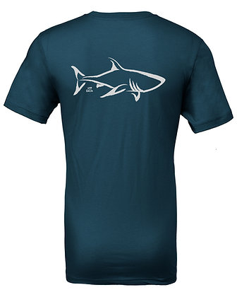 Livin and Chillin Shark Mens Eco Friendly Shirt - Teal and Silver