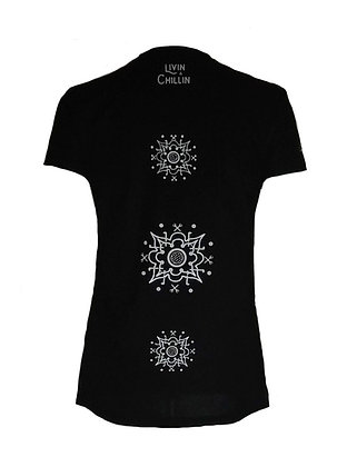 Golf Mandala Women's Moisture Wicking V Neck T Shirt-Black