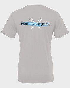 Livin and Chillin Paddle Thru the Battles Mens Moisture Wicking Shirt -Grey