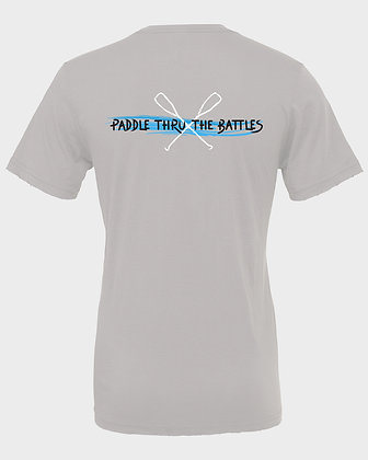 Livin and Chillin Paddle Thru the Battles Mens Moisture Wicking Shirt -Grey
