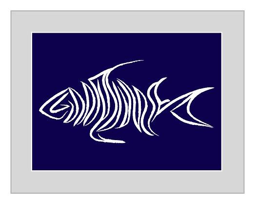 Fish Print - Navy and White