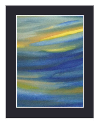 Abstract Tropical Blue and Yellow Print