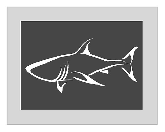Shark Print - Grey and White