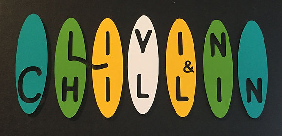 Livin and Chillin Boards Decal - White/Yellow/Green/Aqua (small size)