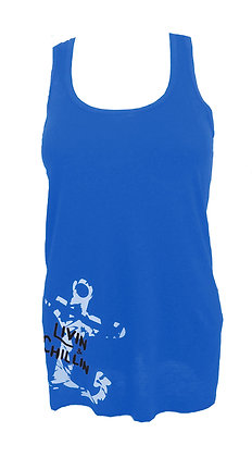Livin and Chillin Distressed Anchor Women's Tank Top-Ocean Blue