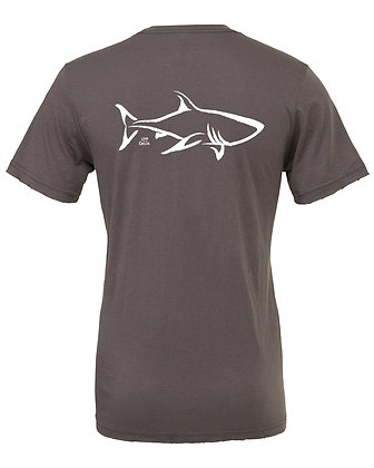 Livin and Chillin Shark Mens Eco Friendly Shirt -Grey and White