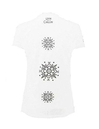Golf Mandala Women's Moisture Wicking V Neck T Shirt-White