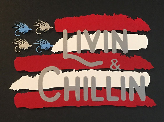Livin and Chillin USA Fishing Decal - Red/White/Blue/Silver (small size)