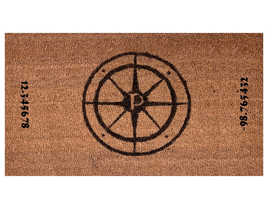 Personalized Compass Long and Lat Door Mat Rug