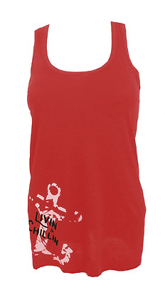 Livin and Chillin Distressed Anchor Women's Tank Top-Red