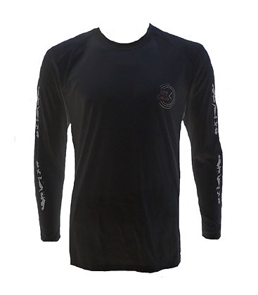 Livin and Chillin All the Time Mens Moisture Wicking UPF Long Sleeve Shirt-Black