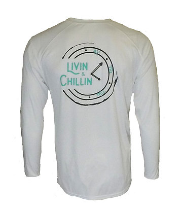 Livin and Chillin All the Time Mens Moisture Wicking UPF Long Sleeve Shirt-White
