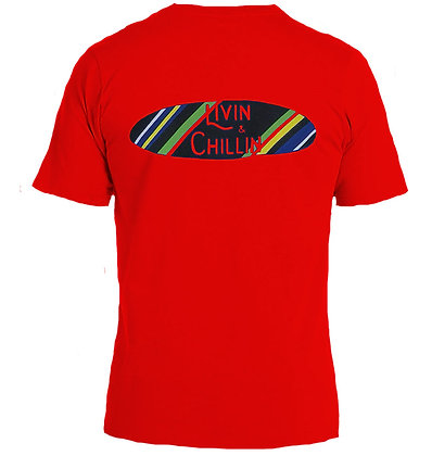 Livin and Chillin Surfboard Mens Moisture Wicking T-Shirt-Red