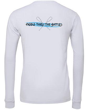 Livin and Chillin Paddle Thru the Battles Mens Moisture Wicking Shirt -White