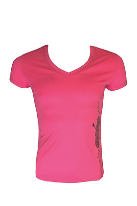 SUP/Surf Heartbeat Women's Moisture Wicking Shirt-Coral Pink