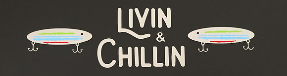 Livin and Chillin Fishing Jig Decal - Silver/Red/Blue/Green (Medium Size)