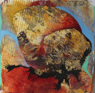 15 x 15 cm Mixed media and monoprint on paper. Reference : 18-15x15C9d