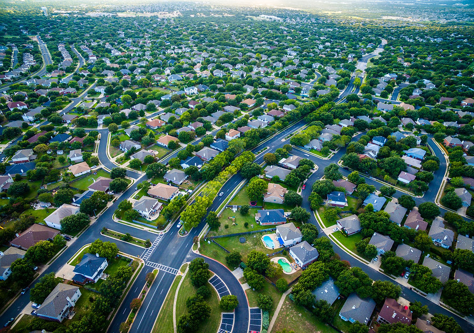 Thousands of houses aerial birds eye vie