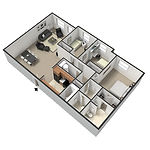 Big Red Apartments 3 Bedroom/1 Bath 975-1,050 Square Feet