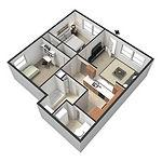 Big Red Apartments 2 Bedroom/1 Bath 821 Square Feet